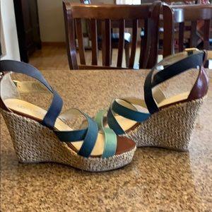 Women's Lauren Conrad blue/green wedges size 8